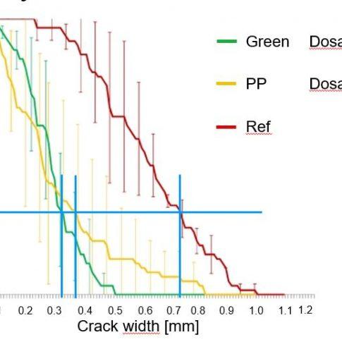 Geringere Rissausbreitung gegenüber PP bei niedrigerer Dosierung - Bild